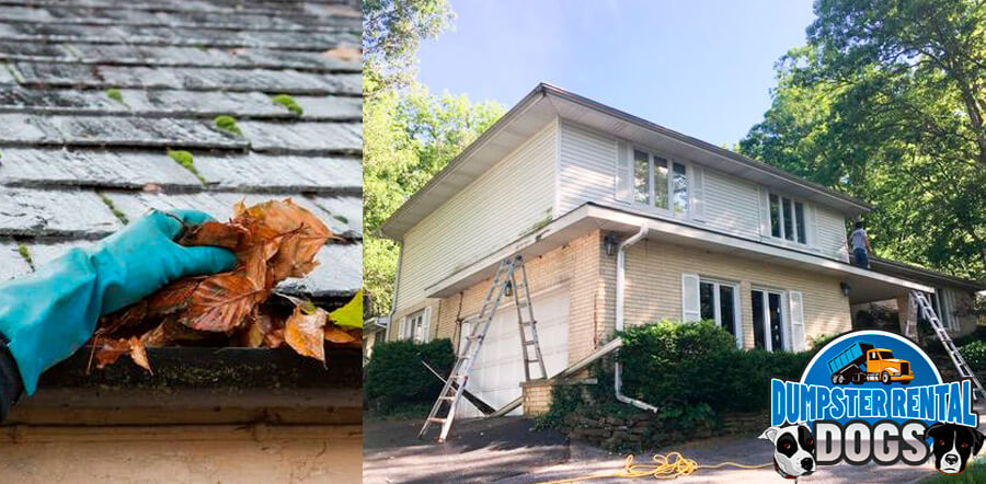 Don't forget dumpster rental waste management during gutter replacement